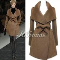 2014 Free shipping New Fashion Winter Women lacing large lapel elegant plus size long wool Coats Turn down collar +high quality