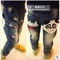 2013 free shipping Retail 1 pcs Top Quality!kids casual jeans for panda printing girl trend denim pants/trousers 3-8yrs in stock