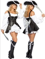 sale Leather Pirate Halloween costumes ,Sexy Black and White Pirate Lingerie Dress ,The stage costume Free shipping