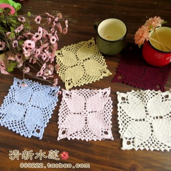 Fresh water handmade hook needle crochet 100% cutout cotton knitted mat square american decoration pad