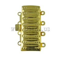 Free shipping!!!Brass Box Clasp,2013 men, Rectangle, gold color plated, 4-strand, nickel, lead & cadmium free, 17x26x5mm