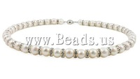 Free shipping!!!Natural Cultured Freshwater Pearl Jewelry Sets,sale, bracelet & earring & necklace, with Rhinestone, Round