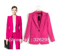 Fall 2013 Women Designer Fashion Slim One Button Red Business Suits European Style Brand Office Wear Blazers And Jackets