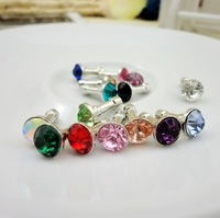For apple    for SAMSUNG   iphone4 4s 5 mobile phone dust plug i9220 ip5 bling rhinestone plug earphones