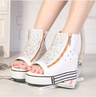 2013 summer cool boots elevator platform wedges platform open toe shoes female 4 high boots tube