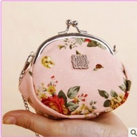 Fashion NEW Retro Black/Coffee/Pink/White Flower Print Canvas&Metal Coin Purses/Wallet hasp handbags Chain Bags Discount/Sale