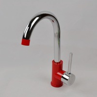 Free shipping Antique bathroom kitchen faucet hot and cold faucet red faucet rotating