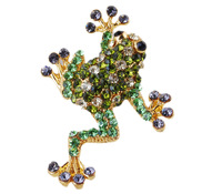 2013 New Chic 6 Colors Optional Lovely Frog Vogue Jewelry Alloy Brooch Pin Costume Prom Lady Crystal,Free Shipping