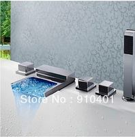Free Shipping Wholesale / Retail Promotion Deck Mounted Chrome Waterfall Bathroom Tub Faucet  Bath Mixer Tao Color Changing LED