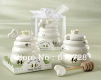 "2013 Newest ""Meant to Bee"" Ceramic Honey Pot with Wooden Dipper  ,party favors  , #ps015"
