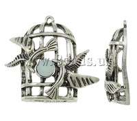 Free shipping!!!Zinc Alloy Tool Pendants,Designs, Cage, antique silver color plated, with rhinestone, nickel