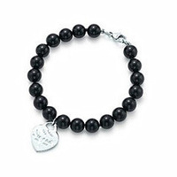 new fasion for man and woman gifts silver plated heart  black beads bracelet wholesale price