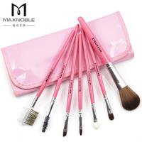 Maxnoble 7 cosmetic brush set blush brush eye shadow brush eyebrow brush pink japanned leather bag