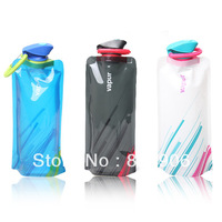 Free shipping (3 pieces/lot) Outdoor sports portable folding water bottle folding water bag sports water bag belt buckle hiking