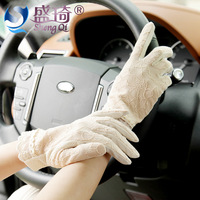 Anti-uv sun gloves summer women's slip-resistant gloves lace flower