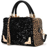 2013 Fashion polo leopard print paillette one shoulder cross-body bags female  women's handbag free Shipping