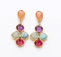 Free Shipping 2013 New  European/Vintage Style  Gold  Earrings Fashion Candy Color Sweet Women's Stud Earring