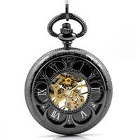 free shipping (4pcs/lot)black color Sunflower  retro mechanical pocket watch . 37.5cm chain.  47*47mm