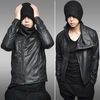Freeshipping Autumn 2013 New European and American Men 's Leather Motorcycle Jacket Men Slim,Fashio design1414-JK26/90