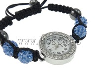 Free shipping!!!Shamballa Watch,Jewellery, Zinc Alloy, with Clay & Wax Cord & Glass, platinum color plated, with rhinestone
