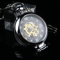 free shipping (4pcs/lot)black color Desktop  retro mechanical pocket watch . 37.5cm chain.  47*47mm