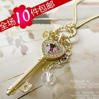 wholesale 10pcs/lot Small accessories long design amethyst gold key necklace love necklace female
