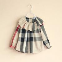 2014 newest classical plaid kids blouse princess shirt  autumn long sleeve shirt high quality 100% cotton