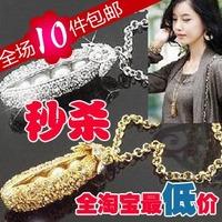 FREE shipping wholesale 10pcs/lot Accessories sweet pea princess folder long necklace pearl peanut long necklace female design