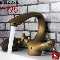 Antique copper faucet wash basin faucet double hot and cold taps guanchong 112f