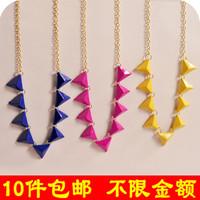 wholesale 10pcs/lot D098 fashion accessories neon color fashion rivet triangle necklace collar necklace