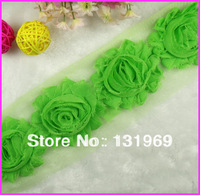 "2.5"" Shabby Frayed Chiffon Chic Rose Flowers for Headband,hair clip Trim Yard accessories  Free shipping  Lime #12"