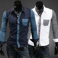 2013 Fashion Male Luxury Long-sleeve Slim Shirt Men's Casual Shirts Free Shipping
