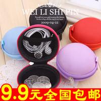 wholesale 10pcs/lot 7074 female small coin purse canvas bag earphones portable day clutch coin key case wallet