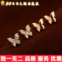 Free shipping wholesale E078 exquisite butterfly stud earring female fashion earrings rose gold stud earring