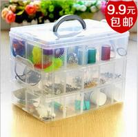Free shipping 16.3x15x13cm plastic storage box transparent  plastic jewelry box tool box 3 layers of 18 grids,