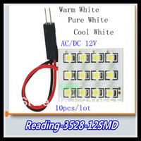 10x 12pcs 3528 Smd t10 white car led lamp White Dome Festoon Car Reading Light Lamp Bulbs 12V