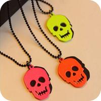 Free shipping wholesale Fashion skull on0167 vintage punk neon necklace female long design necklace