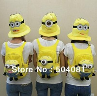2013hot sale fashion kid cute backpack Child Despicable Me High quality Rush minions schoolbag plush toy Beedo Baby shoulder bag