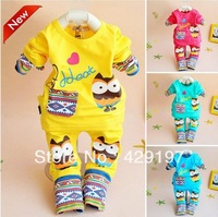 free shipping Spring Owl Lycra suit male and female 4 color baby clothes
