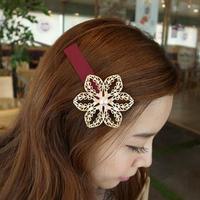 F018 cutout gold pearl big flower hair accessory hair accessory hairpin side-knotted clip hair clip