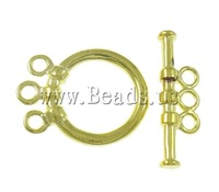 Free shipping!!!Brass Toggle Clasp,Exquisite, Donut, gold color plated, 3-strand, nickel, lead & cadmium free, 6x19.5x3mm