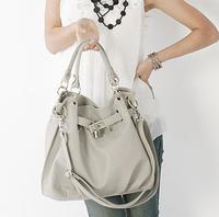 free shipping women messenger bag. 2014 fashionable casual lock women's handbag big bag portable purple grey