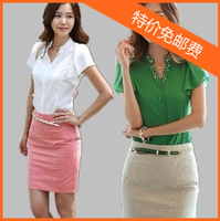 2013 summer plus size clothing ol chiffon ruffle shirt short-sleeve shirt slim chiffon shirt