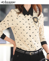 2013 ol women's long-sleeve shirt color block elegant slim shirt