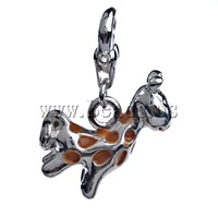 Free shipping!!!Zinc Alloy Lobster Clasp Charm,New Year Gift, Deer, enamel, nickel, lead & cadmium free, 28x17x7mm