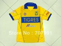new arrival 2013-14 high thailand quality mexico esto es tigres home yellow football soccer jerseys uniforms embroidered logo