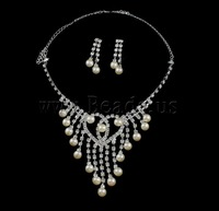 Free shipping!!!Natural Cultured Freshwater Pearl Jewelry Sets,fantasy women jewelry, earring & necklace, with Rhinestone