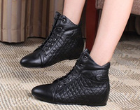 Hot selling Spring sheepskin nsutite plaid lacing elevator flat boots leather boots fashion boots