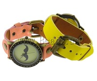 Free shipping!!!Zinc Alloy watch bracelet,2013 new men, with PU, iron clasp, antique bronze color plated, mixed colors, nickel