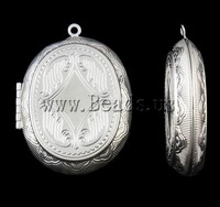 Free shipping!!!Zinc Alloy Locket Pendants,new arrival, Oval, silver color plated, nickel, lead & cadmium free, 39x52x10.50mm